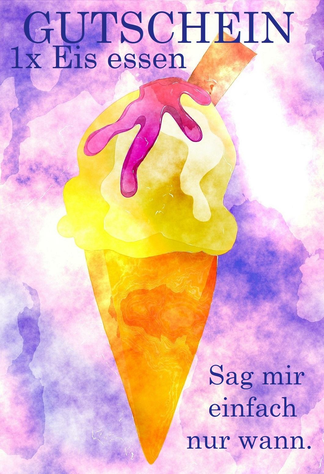 Für eis basteln gutschein essen Eis essen: